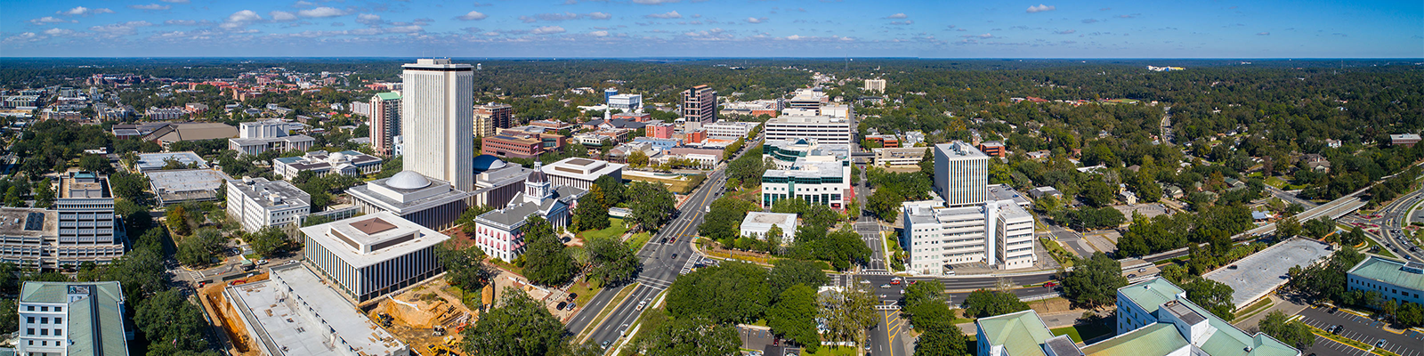 alt=Aerial view of downtown Tallahassee, Florida